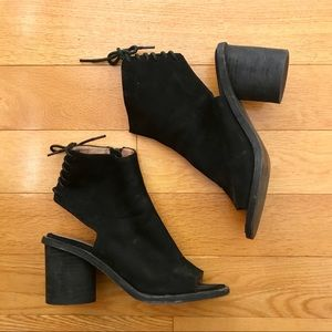 Jeffrey Campbell peep toe ankle booties lace up